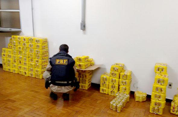 Parte da carga furtada que foi recuperada pela PRF / Foto: Divulgação PRF